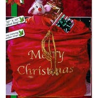 "30"" x 36"" Red Velveteen ""Merry Christmas"" Santa Sack with Braided Gold Drawstring"