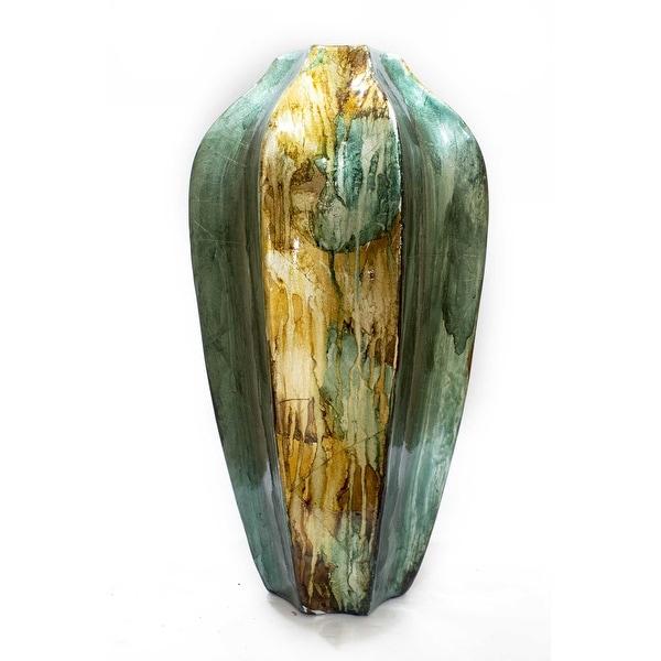 "16"" Turquoise, Copper, and Bronze Ceramic Table Vase"