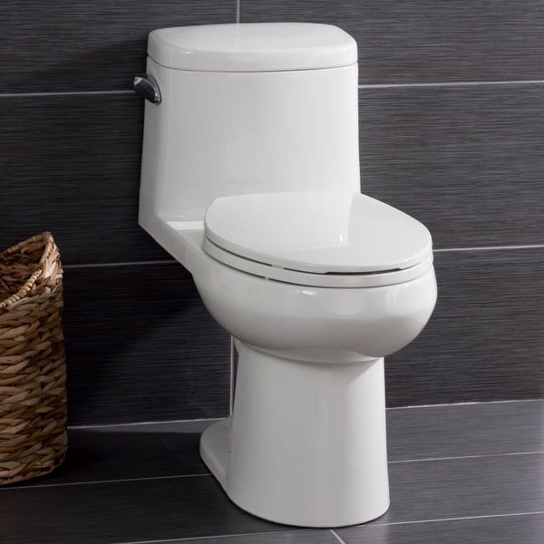 Miseno MNO120C One-Piece High-Efficiency Elongated ADA Height Toilet with Slow Close Seat, Decorative Trip Lever, and Wax Ring