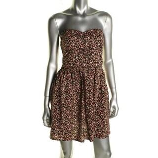 Be Bop Womens Juniors Casual Dress Floral Print Strapless