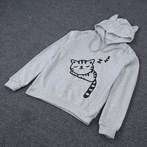 Women Hoodies Cute Front Pocket Cat Ear Hoodie Sleeping Cat Pattern Pullover Sweatshirt