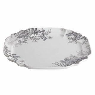 """BonJour 55478 Dinnerware Shaded Garden 13-1/4"""" Porcelain Square Platter Slate"""