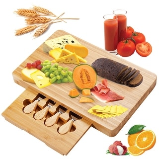 Costway 5 PC Cheese Board Knife Set Stainless Steel Knife Slide Out Bamboo Cutting Board - as pic