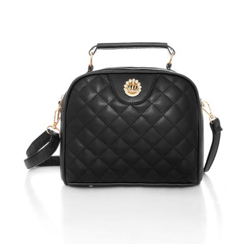 Women Detachable Strap Zip Closed Quilted PU Crossbody Bag