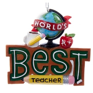 Worlds Best Teacher Christmas Holiday Ornament Resin