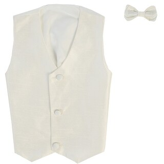 Baby Boys Ivory Poly Silk Vest Bowtie Special Occasion Set 3-24M