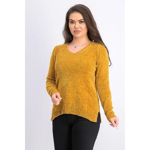 Karen Scott Women's V Neck Chenille Sweater Gold Size X-Large