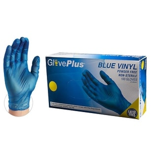 GLOVEPLUS IVBPF Blue Vinyl Industrial Latex Free Disposable Gloves (Box of 100) by AMMEX