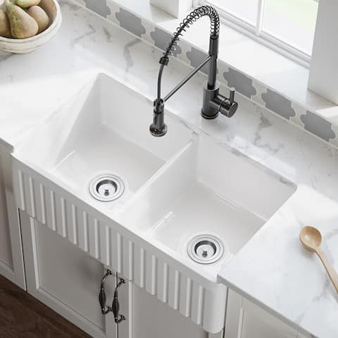 MR Direct 416 Fireclay Double Bowl Farmhouse Kitchen Sink