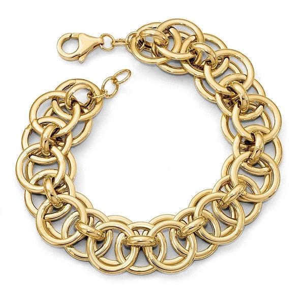 Italian 14k Gold Fancy Link Bracelet - 7.5 inches