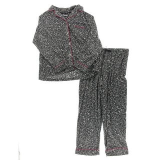 DKNY Womens Two-Piece Pajamas Fleece Animal Print - XL