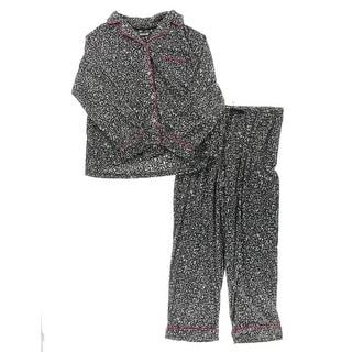 DKNY Womens Two-Piece Pajamas Fleece Animal Print - XL