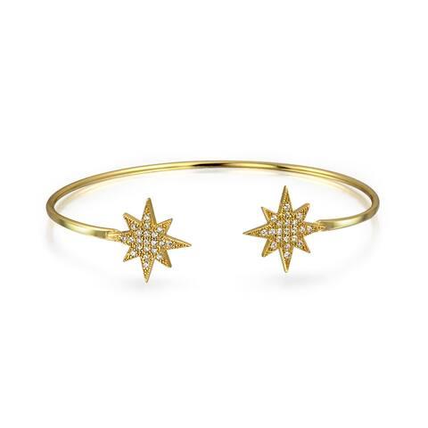 Starburst CZ Bangle Cuff Bracelet Gold Plated 925 Sterling Silver