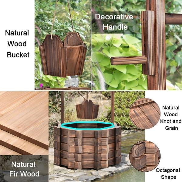 Shop Costway Outdoor Wooden Wishing Well Bucket Flower Plants
