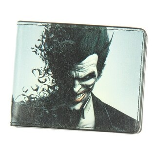 DC Comics Arkham Origins Joker Face/Bats Bi-Fold Wallet - One Size Fits most