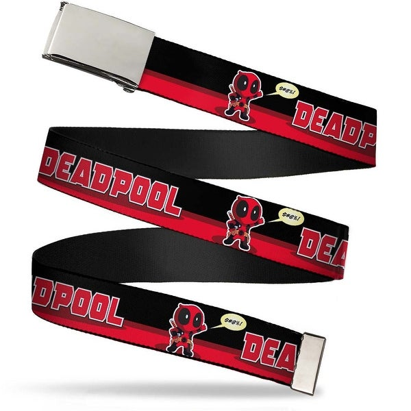 "Marvel Universe Blank Chrome 1.0"" Buckle Chibi Deadpool Waving Pose Quote Web Belt 1.0"" Wide - S"