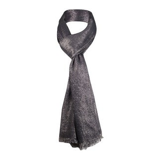 Style & Co. Women's Metallic Frayed Wrap Scarf - Black/gold