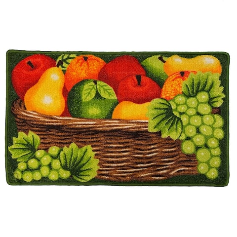 Fruit Basket Skid-Resistant Kitchen Rug Mat, Red-Brown, 18x30 Inches