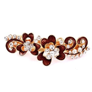 Women Plastic Rhinestone Detail Floral Design Hair Barrette Clip Hairpin Brown