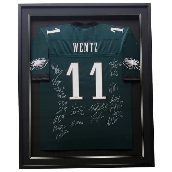 f6a5ef34413 Eagles Super Bowl 52 Team Signed Framed Proline Jersey 20 Autos Wentz  Fanatics