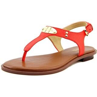 Michael Kors MK Plate Thong Women Open Toe Leather Thong Sandal