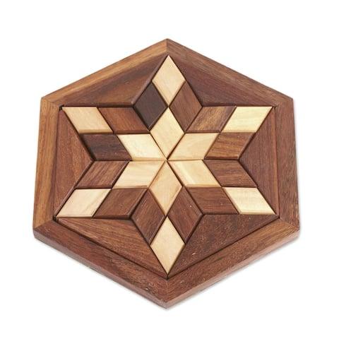 NOVICA Rhombus Star, Wood puzzle
