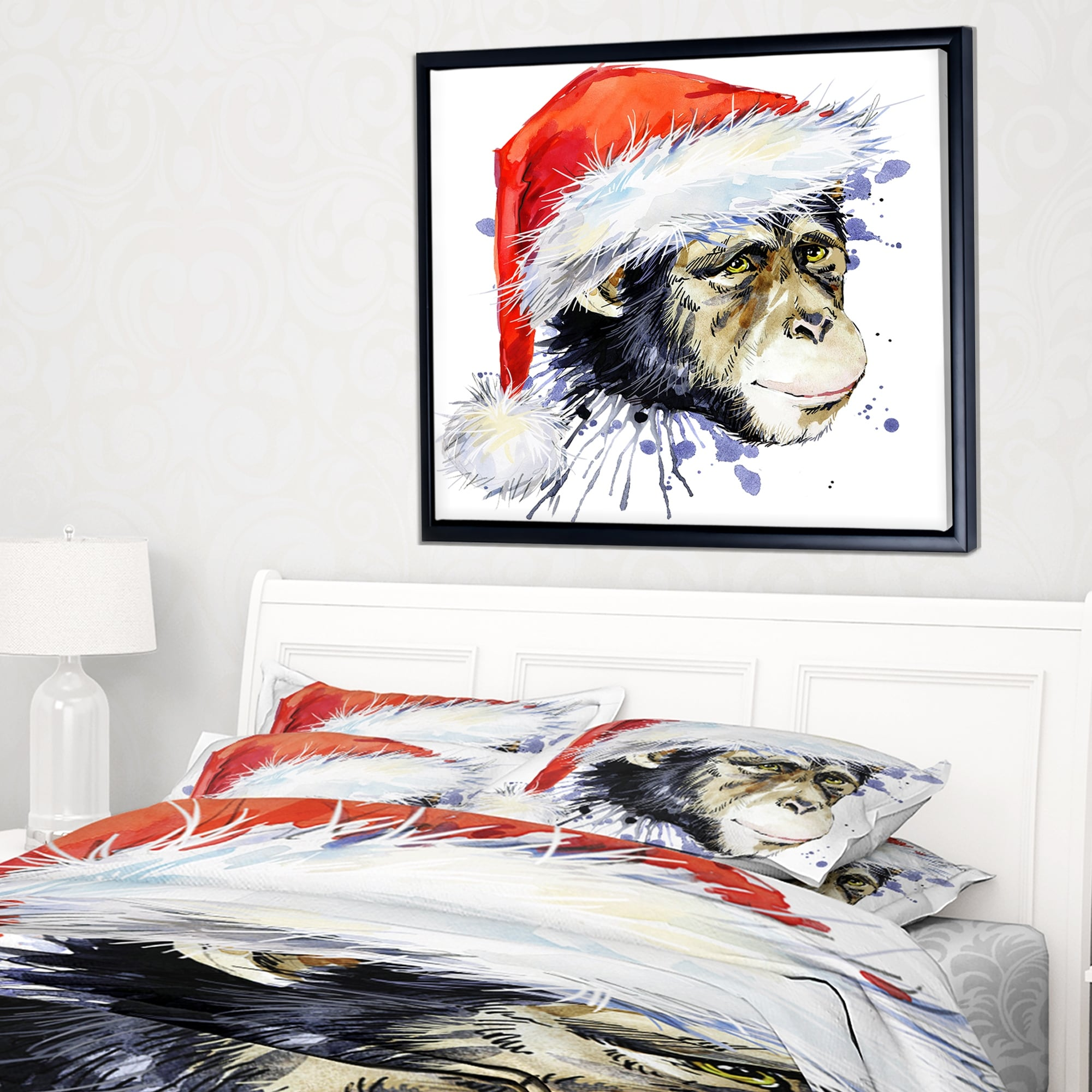 Designart Monkey Santa Clause Animal Framed Canvas Art Overstock 18936384