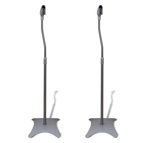 VidaXL Universal Speaker Stand Silver Surround Mounting Hole Adjustable Speech