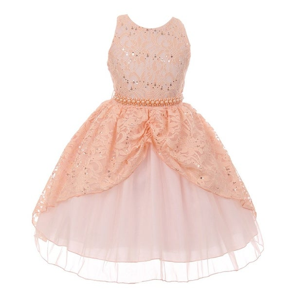 46f159c63e2 Shop Chic Baby Little Girls Peach Lace Sequins Pearl Flower Girl Dress -  Free Shipping Today - Overstock - 19429468