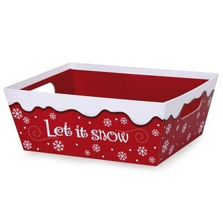 """Pack Of 3, Solid Let It Snow X-Large Wide Base Trays 8 X 10"""" X 4.5"""" For Gourmet Gift Baskets, Food Baskets"""