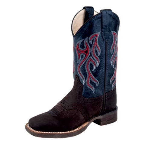 Old West Cowboy Boots Boys Leather Hand Corded Distress Blue