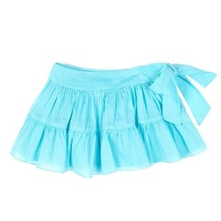 Azul Little Girls Turquoise Solid Color Tie Sash Cotton Ruffle Swim Skirt