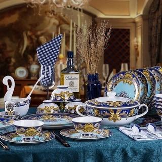 Tres De La Mer luxury fine china dinnerware 58 piece service for 6 including the tea set