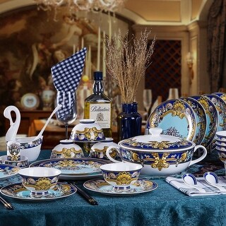 Tres De La Mer luxury fine china dinnerware 58 piece service for 6 including the tea set *CLOSEOUT PRICING*