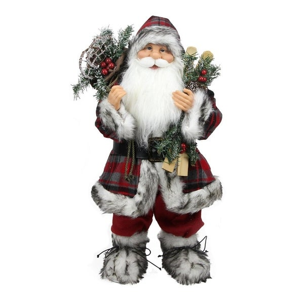"""16"""" Alpine Chic Standing Santa Claus with Frosted Pine, Snowshoes and Skis Christmas Figure - RED"""