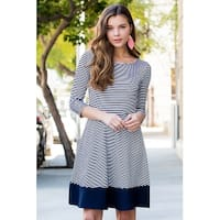 RIAH FASHION Women's Quarter Sleeve Striped A-line Tiered Dress