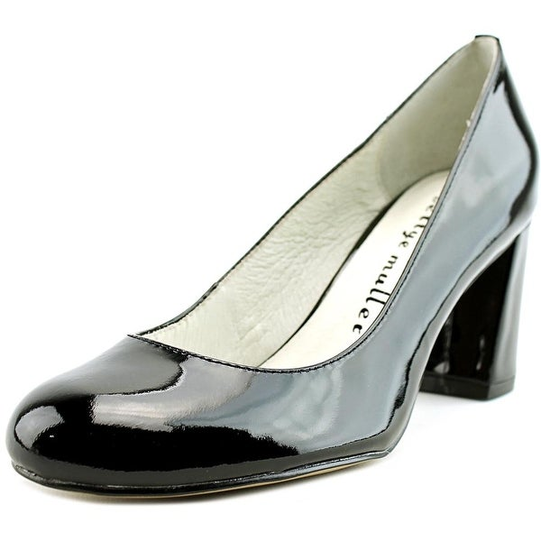 Bettye Muller Colette Women Round Toe Patent Leather Black Heels