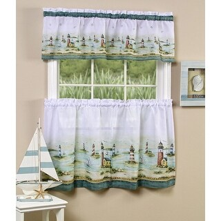 Hamptons Printed Kitchen Curtain Tiers & Valance Set, 58x13 & 58x36 Inches