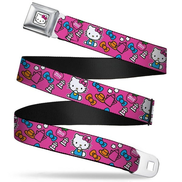 Hello Kitty Face W Pink Bow Full Color White Hello Kitty Sitting Poses Bows Seatbelt Belt