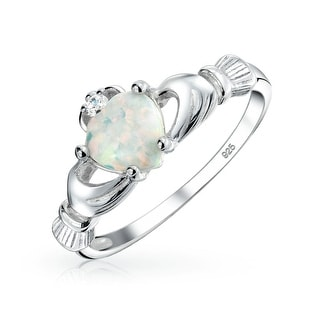 Celtic Heart Synthetic White Opal Claddagh Ring Sterling Silver