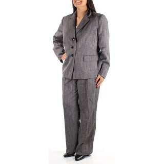 Womens Gray Wear To Work Straight leg Pant Suit Size 14
