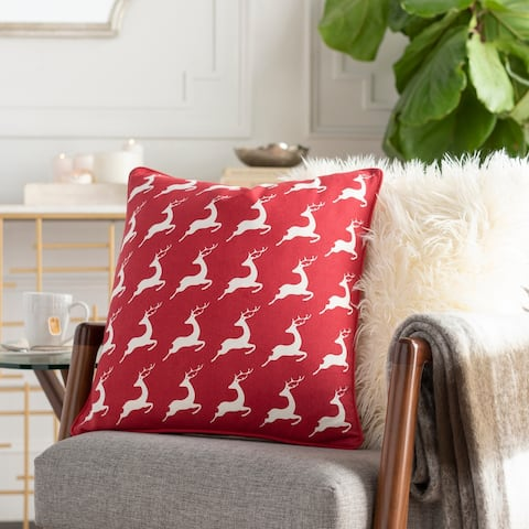 Leap Reindeer Red Feather Down or Poly 18-inch Throw Pillow