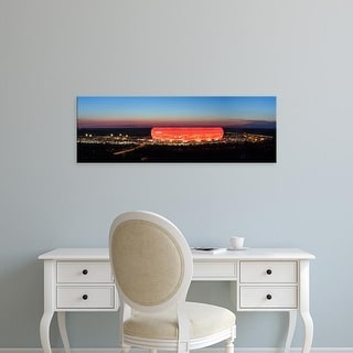 Easy Art Prints Panoramic Images's 'Soccer stadium lit up at dusk, Allianz Arena, Munich, Bavaria, Germany' Canvas Art