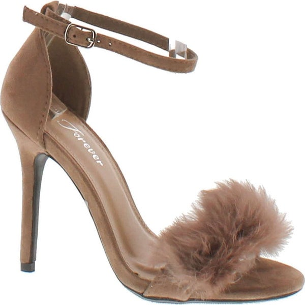 Forever Rubina-53 Fluffy Feather Furry Strap High Heel Open Toe Dress Sandal