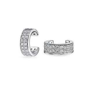 Bling Jewelry 925 Sterling Silver Modern Pave CZ Ear Cuffs Rhodium Plated