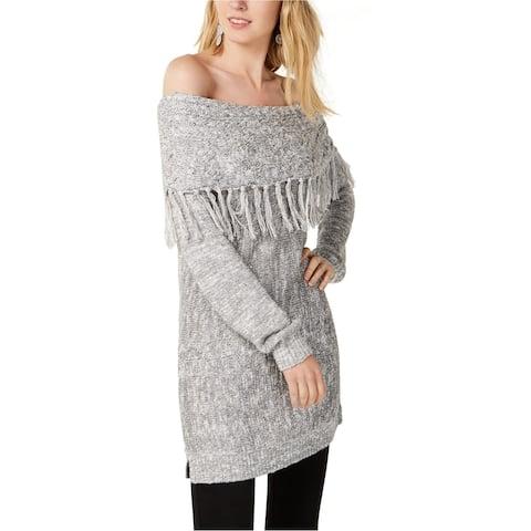 I-N-C Womens Foldover Tunic Sweater, Metallic, X-Large