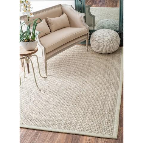 nuLOOM Casual Natural Fiber Solid Sisal/ Wool Border Area Rug