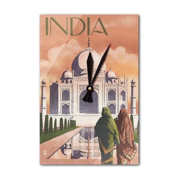 Taj Mahal, India - Lithograph Style - LP Artwork (Acrylic Wall Clock) - acrylic wall clock