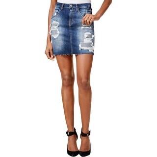 Guess Womens Giselle Mini Skirt Denim Destroyed