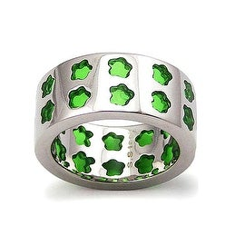 Stainless Steel Women's Ring w/ Green Resin Inlay - Size 10